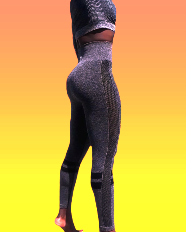 Gray tummy control High waisted women yoga workout pants